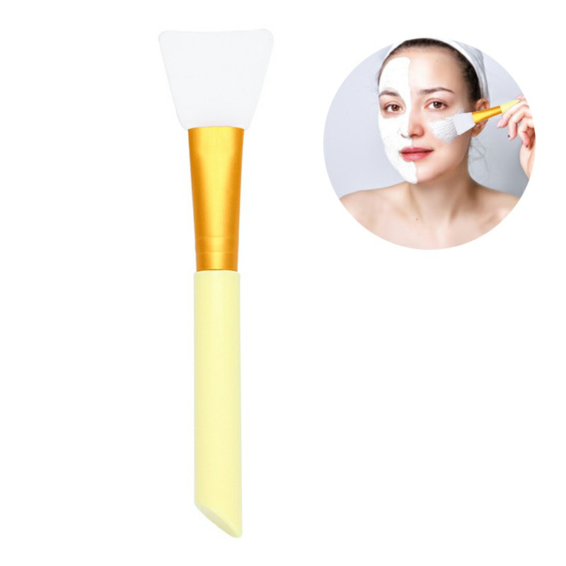Face Care Soft Silicone Foundation Painting Mask Brush Beauty Makeup Tool DIY Soft Mask Stick - Yellow