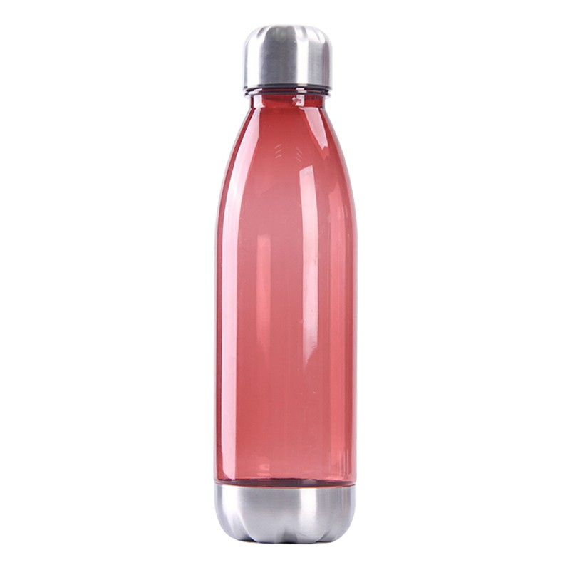 750ml Outdoor Sports Drinking Bottle Plastic Stainess Steel Water Bottle and Cover Bottle - Red