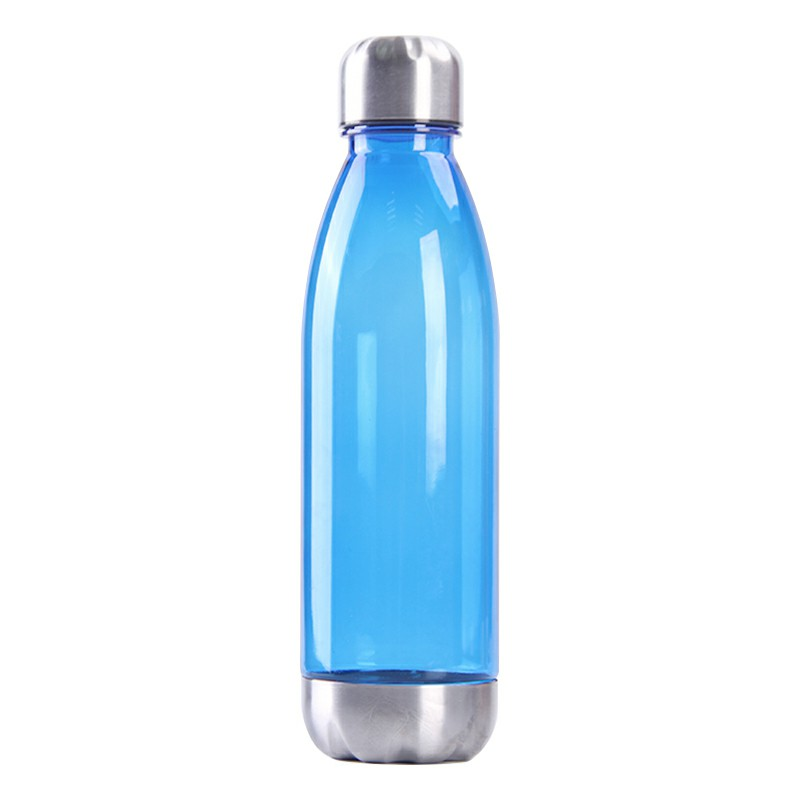 750ml Outdoor Sports Drinking Bottle Plastic Stainess Steel Water Bottle and Cover Bottle - Blue
