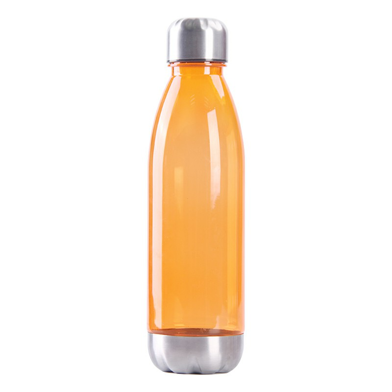 750ml Outdoor Sports Drinking Bottle Plastic Stainess Steel Water Bottle and Cover Bottle - Orange
