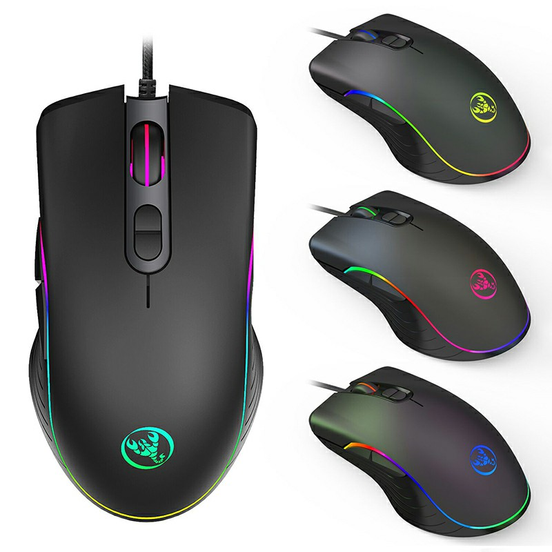 A867 Adjustable 6400dpi Optical RGB Marquee Effect Wired Gaming Mouse for PC
