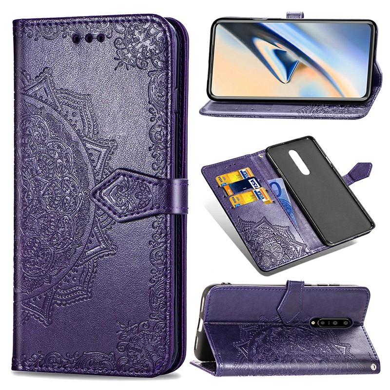 PU Leather Flip Case Wallet Card Phone Cover Embossed Case with Holder OnePlus 7 Pro - Purple