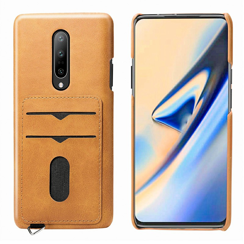 Magnetic Leather Wallet Case with Card Slot Shockproof Back Cover for OnePlus 7 Pro - Khaki
