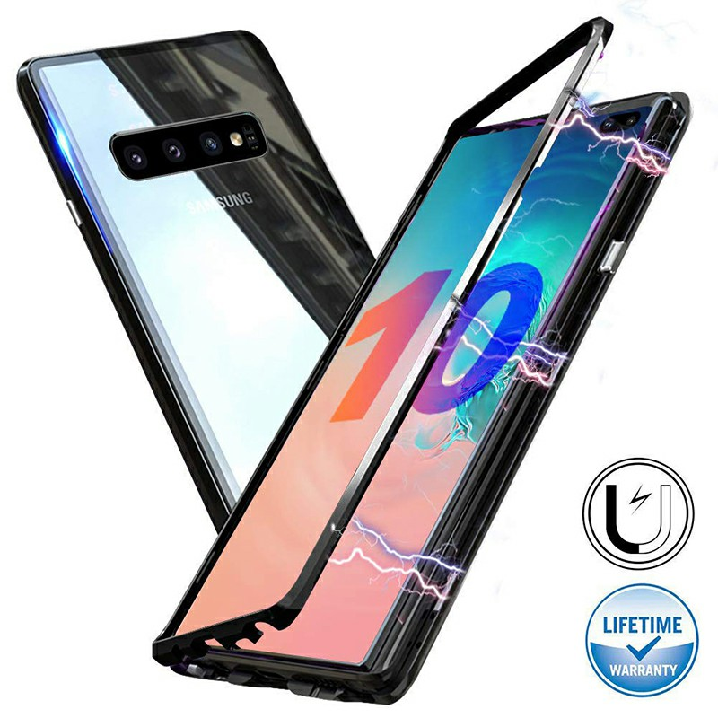 Magnetic Adsorption Metal Frame Case Cover Full Cover for Samsung Galaxy S10 Plus - Black
