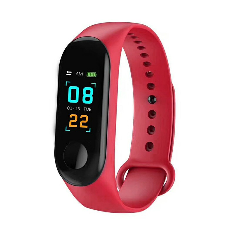 Bluetooth Smart Watch Heart Rate Blood Pressure Blood Oxygen Monitor Fitness Tracker Bracelet - Red