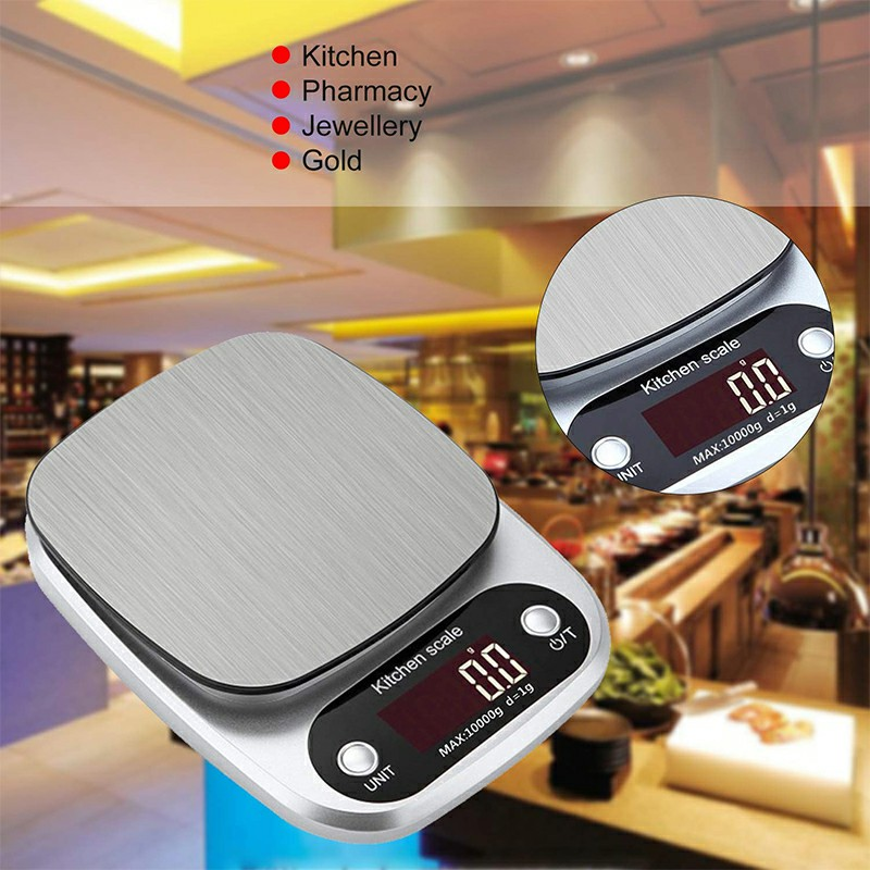C305 Kitchen Weight Digital Scale Portable Stainless Steel Electronic LCD Display Food Scales Accurate 10kg x 1g
