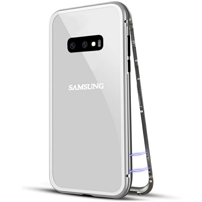 Magnetic Adsorption Metal Frame Case Cover Full Cover for Samsung Galaxy S10e - Silver