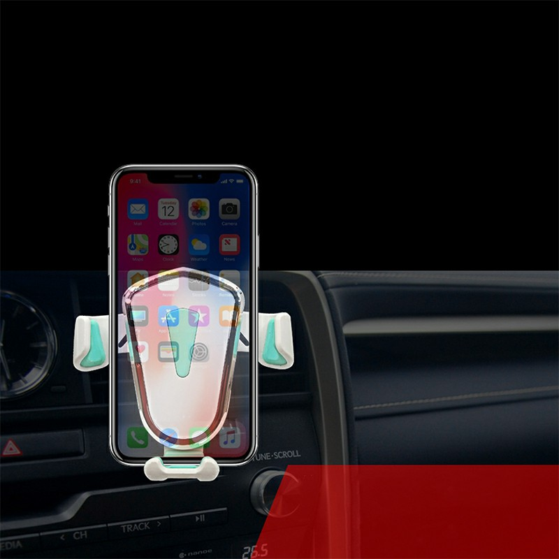 Gravity Cellphone Bracket Suction Mount Universal Phone Stand Holder for Car Air Conditioning Outlet Dashboard - White