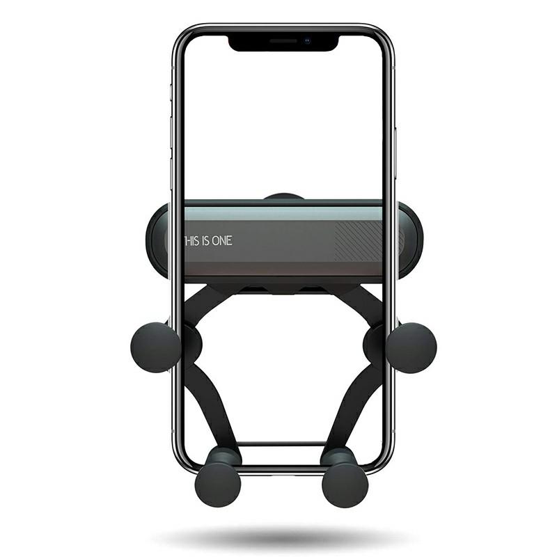 One Deformable Gravity Car Phone Holder Air Outlet Mount Holder Bracket - Black