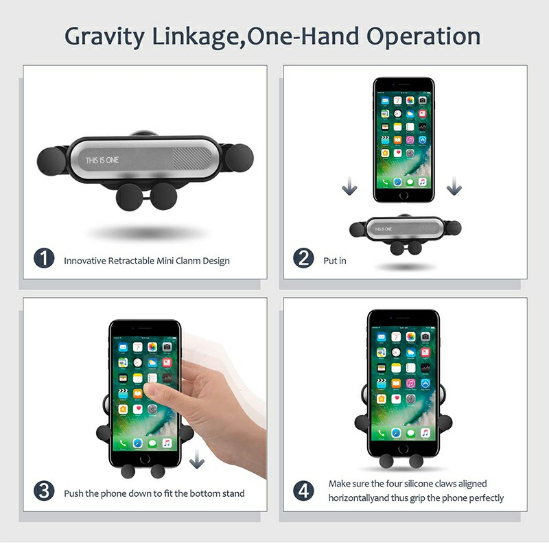 One Deformable Gravity Car Phone Holder Air Outlet Mount Holder Bracket - Silver