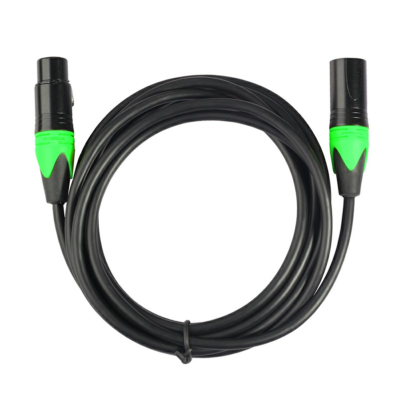 Green Copper Cored XLR Male to Female Microphone Audio Cable Microphone Audio Connector - 3M