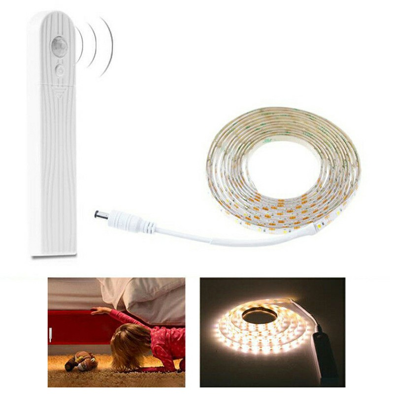 Waterproof LED Strip Light Wireless PIR Motion Sensor for Wardrobe Cabinet Lamp Warm White Light - 3m