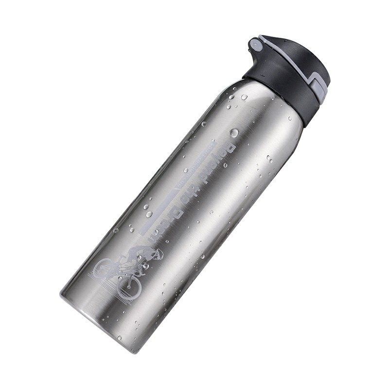 500ML Sports Thermos Water Bottle with Straw Double Wall Vacuum Insulated Stainless Steel Thermos - Silver
