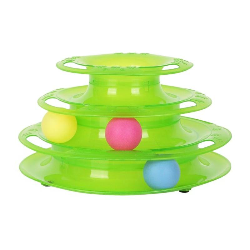 Pet Cat Kitten Interactive Crazy Ball Disk Amusement Game Trilaminar Toy Tower - Green