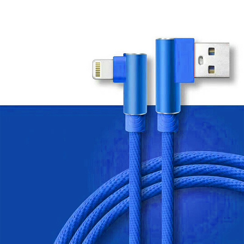 Durable L Shape Double 90 Degree Elbow Braided Connector Nylon Weaving Lightning Charging Cable 1m - Blue