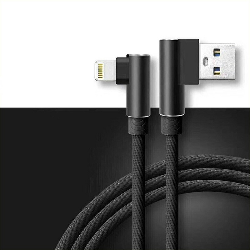 Durable L Shape Double 90 Degree Elbow Braided Connector Nylon Weaving Lightning Charging Cable 1m - Black