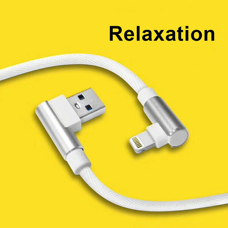 Durable L Shape Double 90 Degree Elbow Braided Connector Nylon Weaving Lightning Charging Cable 1m - White