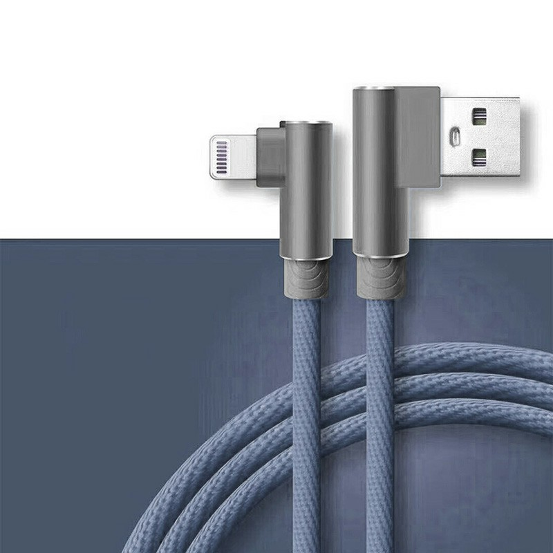Durable L Shape Double 90 Degree Elbow Braided Connector Nylon Weaving Lightning Charging Cable 1m - Grey