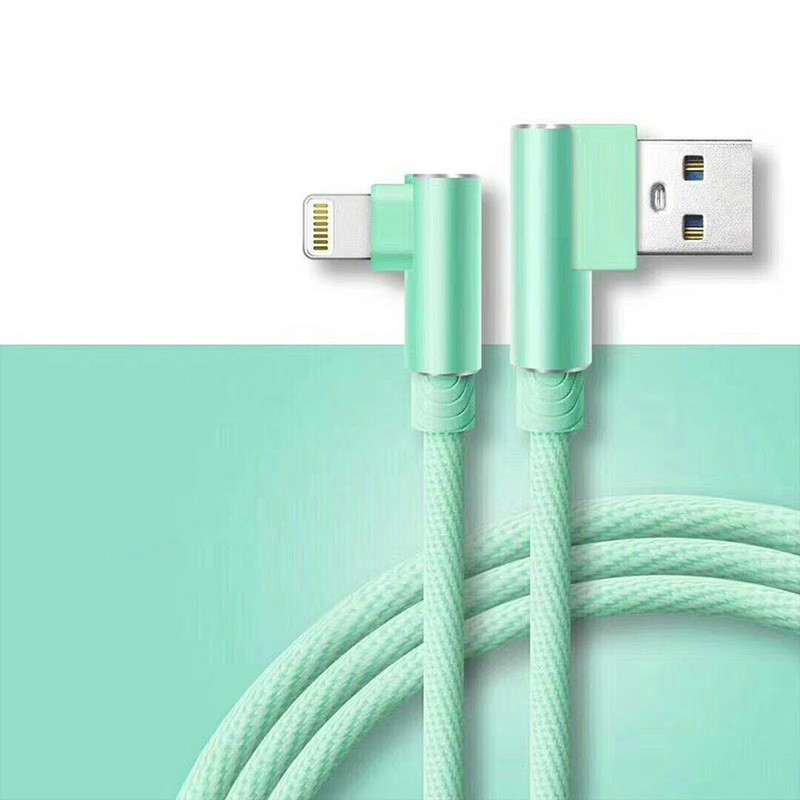 Durable L Shape Double 90 Degree Elbow Braided Connector Nylon Weaving Lightning Charging Cable 1m - Green