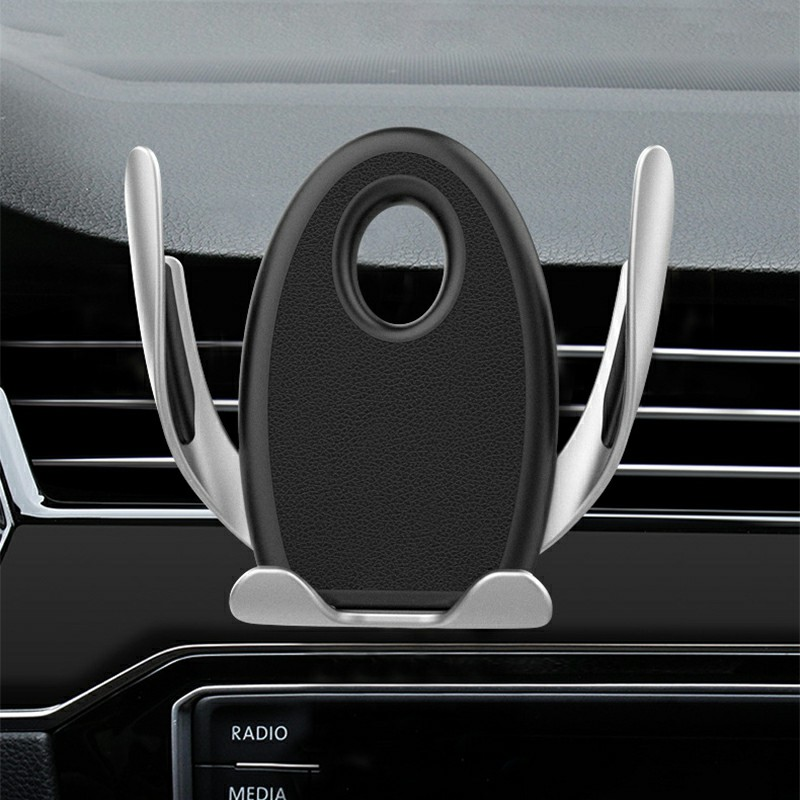 Car Phone Holder Gravity Sensing Lazy Mobile Phone Clip 360 Degree Rotation Hands-free - Silver