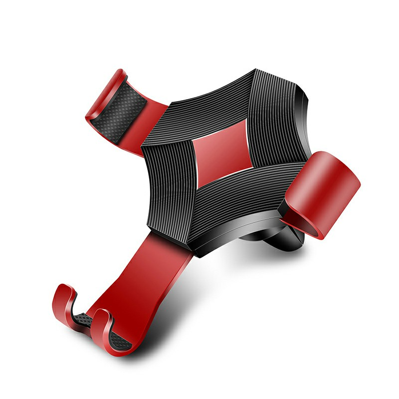 Car Phone Holder Gravity Sensing Lazy Mobile Phone Clip Air Vent Holder Mount - Red