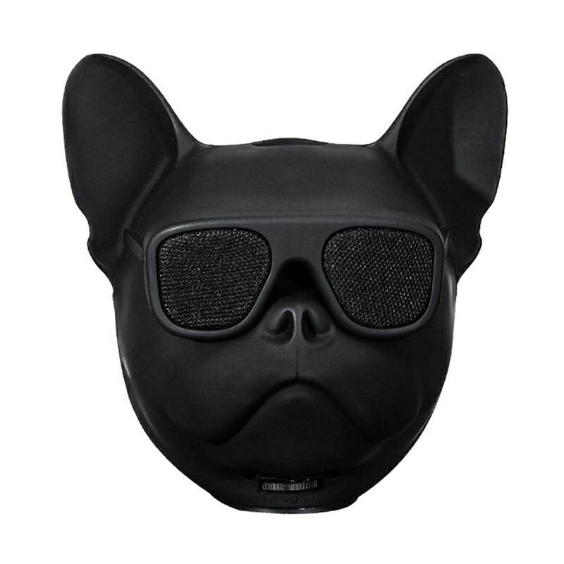 Bulldog Speaker Portable Wireless Bluetooth Cartoon Cute Speaker Support FM/TF Card - Black