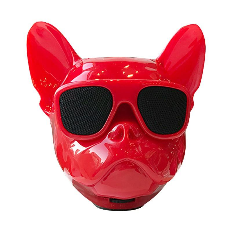 Bulldog Speaker Portable Wireless Bluetooth Cartoon Cute Speaker Support FM/TF Card - Red