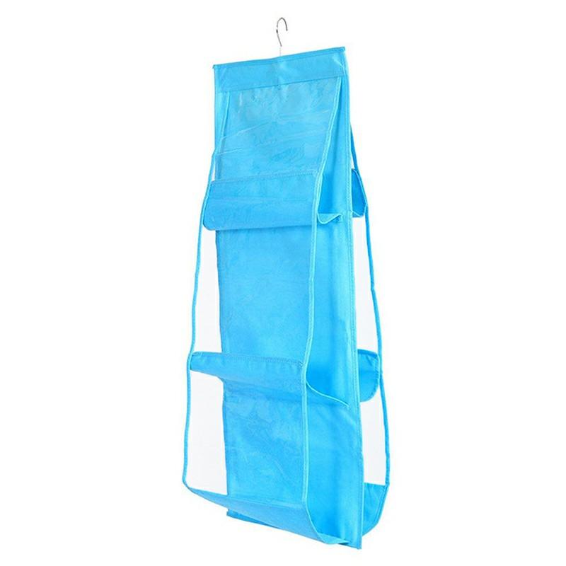 Handfly Hanging Storage Bag Hanging Closet Organizer Wall Organizer with 6 Layers - Blue