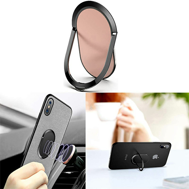 Super Thin Phone Ring Holder Mobile Phone Finger Kickstand Metal Ring Grip - Rose Gold