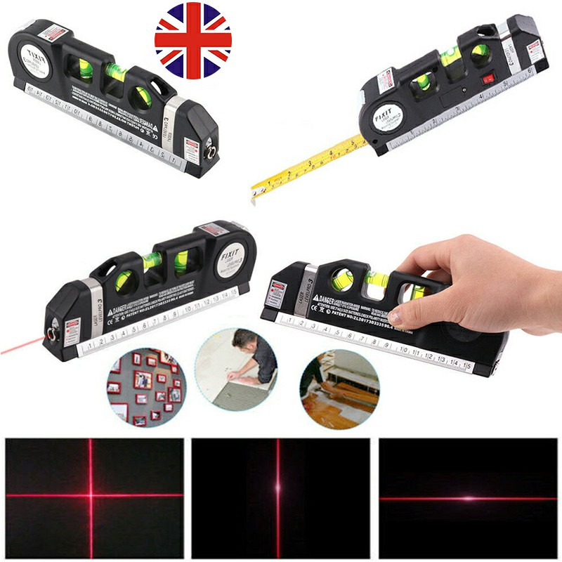 3 in 1 Laser Level Aligner Horizon Vertical Cross Line Measure Tape Ruler 10m