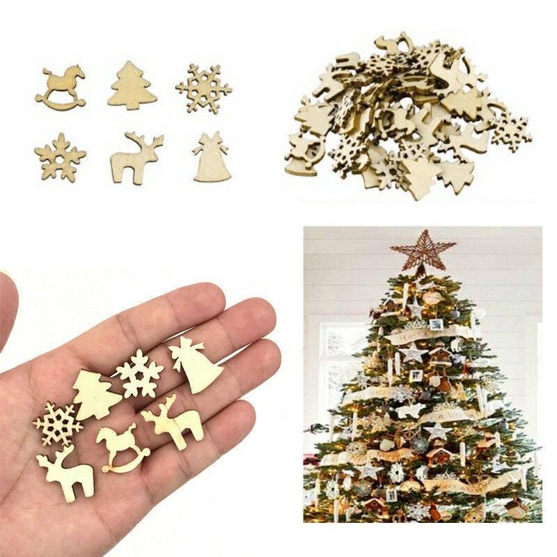 100pcs Wooden Cutout Embellishment Christmas Ornaments Snowflake Tree Trojan Deer DIY Handmade Decoration