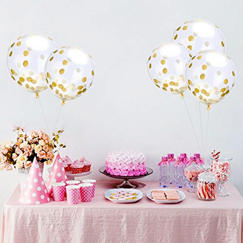 Bunting Banner and Foil Latex Confetti Round Sequins Balloon for Wedding Birthday Hen Party - Pink