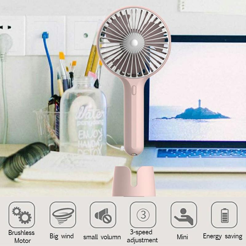 Summer Handheld Fan Portable Mini Fan USB Desktop Fan for Home and Office - Pink