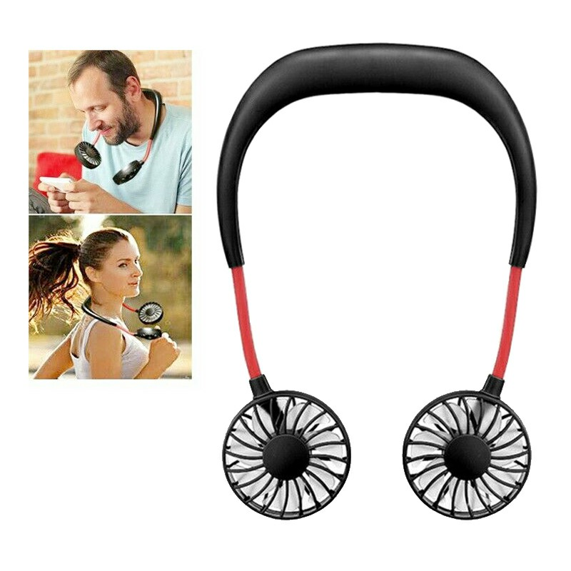 Portable USB Rechargeable Wearable Neckband Lazy Neck Hanging Dual Cooling Mini Fan - Black