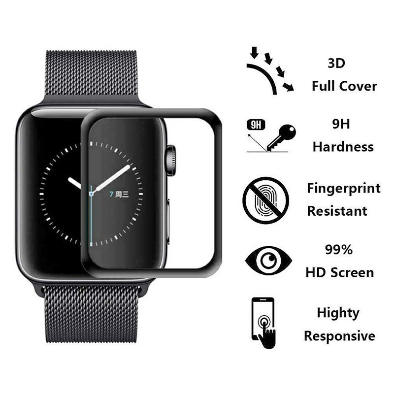3D Tempered Glass Screen Protector Film for Apple Watch iWatch 4 3 2 1 - 44mm