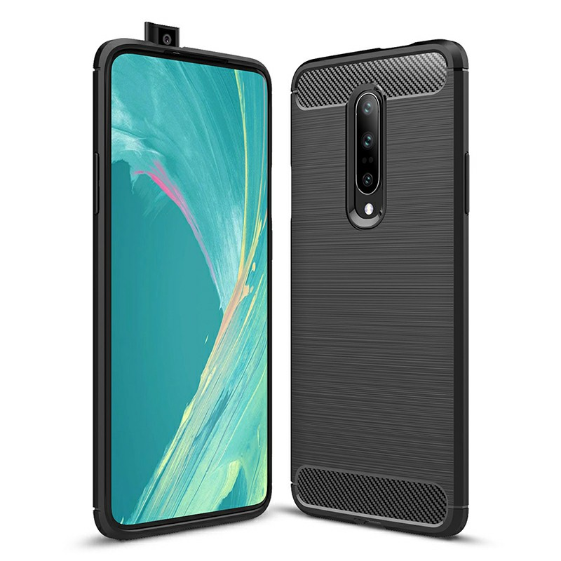 TPU Shockproof Carbon Fiber Soft Silicone Protective Case Back Case Cover for OnePlus 7 Pro - Black