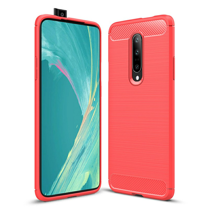 TPU Shockproof Carbon Fiber Soft Silicone Protective Case Back Case Cover for OnePlus 7 Pro - Red