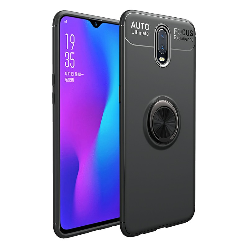 Ultra Soft TPU Shockproof Bumper Case with Metal Ring Holder for OnePlus 7 - Black