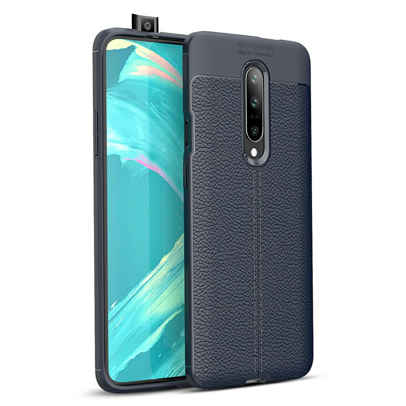 Soft TPU Bumper Shockproof Grainy Protective Case Back Case Cover for OnePlus 7 Pro - Navy