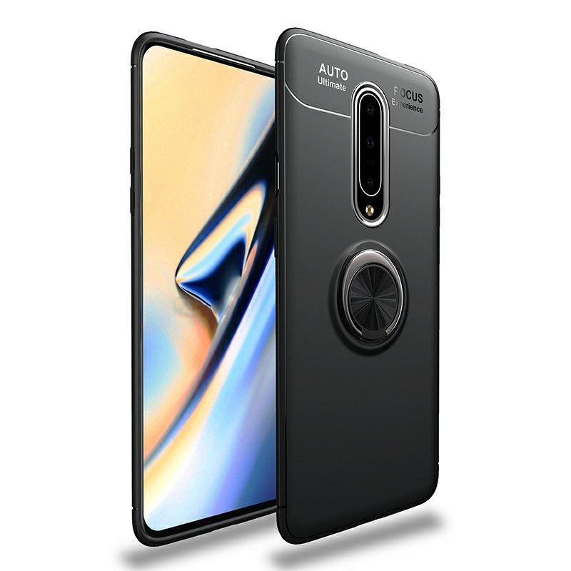 Ultra Soft TPU Shockproof Bumper Case with Metal Ring Holder for OnePlus 7 Pro - Black