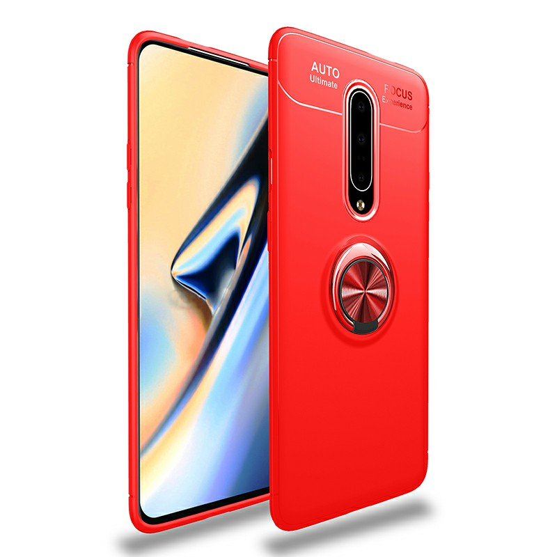 Ultra Soft TPU Shockproof Bumper Case with Metal Ring Holder for OnePlus 7 Pro - Red