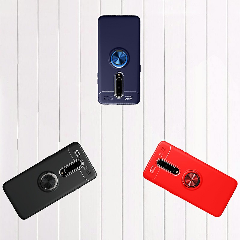 Ultra Soft TPU Shockproof Bumper Case with Metal Ring Holder for OnePlus 7 Pro - Blue
