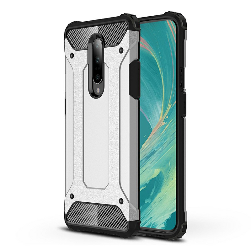 TPU + PC Rugged Armor Hybrid Matte Hard Back Case Cover for OnePlus 7 Pro - Silver