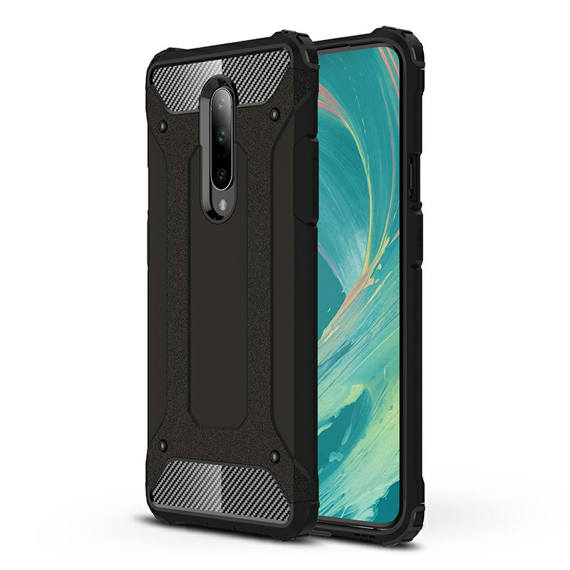 TPU + PC Rugged Armor Hybrid Matte Hard Back Case Cover for OnePlus 7 Pro - Black