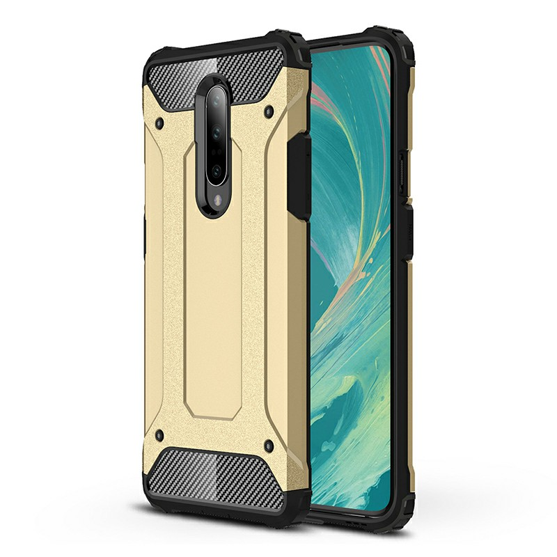 TPU + PC Rugged Armor Hybrid Matte Hard Back Case Cover for OnePlus 7 Pro - Gold
