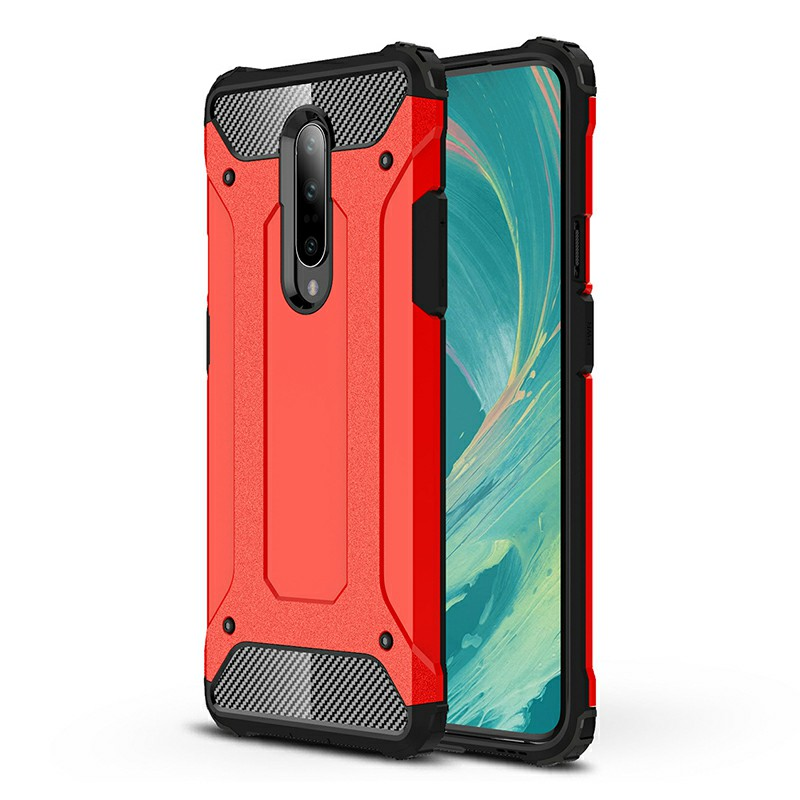 TPU + PC Rugged Armor Hybrid Matte Hard Back Case Cover for OnePlus 7 Pro - Red