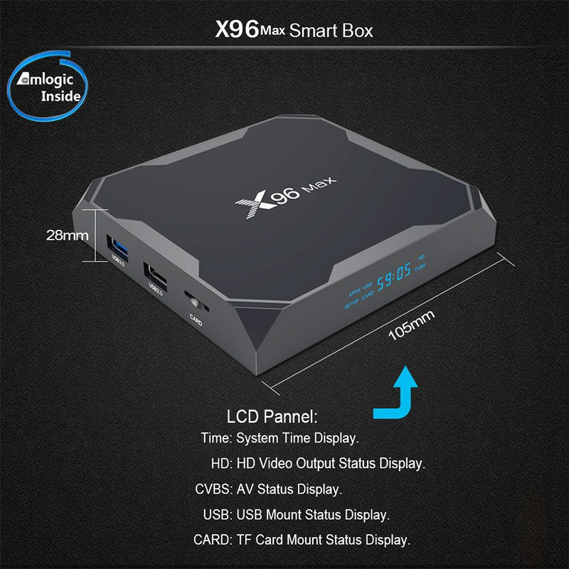 X96Max Smart Android 8.1.0 TV Box Amlogic S905X2 Quad Core HD H.265 2/16GB/MXQ