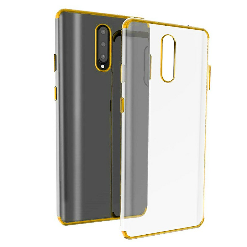 Plating Clear Slim Soft TPU Shockproof Phone Back Case Cover for OnePlus 7 Pro - Gold