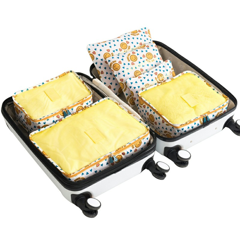 6 pcs Home Clothes Storage Bags Set Cube Daisy Printed Travel Luggage Organizer Pouch - Yellow Smile Face