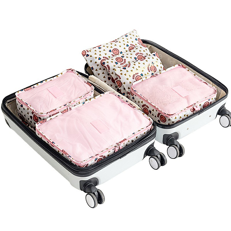 6 pcs Home Clothes Storage Bags Set Cube Daisy Printed Travel Luggage Organizer Pouch - Pink Smile Face